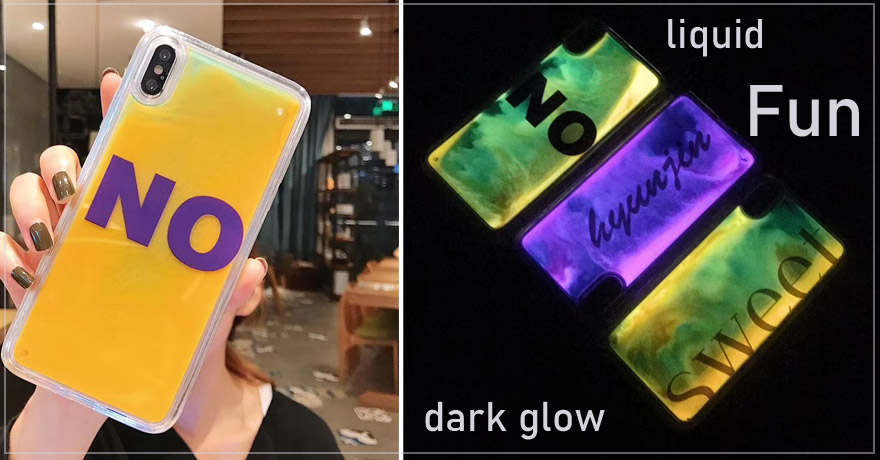 Dark glow liquid protector case for iphone and samsang beatiful and fun